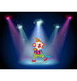 A clown at the stage with spotlights vector image vector image