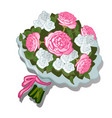 a lush bouquet of flowers tied with pink ribbon vector image