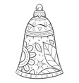 adult coloring bookpage a christmas bell vector image