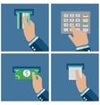 ATM terminal usage Payment through the terminal vector image
