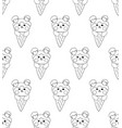bear on ice cream white background vector image vector image