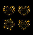 beautiful heart-fireworks set gold romantic vector image