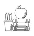 books apple pencils school supplies vector image vector image