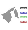brunei map in dot style with grunge title stamps vector image