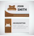 business card print template with claw hair clip vector image vector image