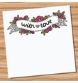 Card with doodle floral ribbon on wooden desk vector image vector image