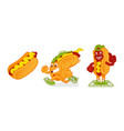 cartoon character hotdog set vector image vector image