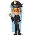 Cartoon cool policeman in black uniform vector image vector image