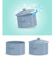 cartoon gray metal cooking pot with cover vector image vector image