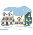 city street in winter snowing weather in town vector image vector image