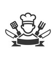 cooking chef logo on white background vector image