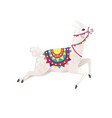 cute llama running and wearing decorative saddle vector image vector image