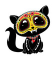 day dead dia de los muertos style kitty vector image vector image