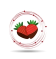 delicious strawberry chocolate and hearts design vector image
