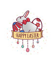 easter day with rabbit-06 vector image vector image