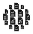 file format icons set simple style vector image