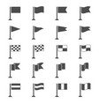flag icons set black pennant signs vector image