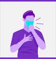 flat man coughing wearing medical face mask vector image