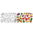 fruit and berries icons vector image vector image