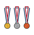GOLD SILVER BRONZE MEDALS WITH RIBBONS FLAT DESIGN vector image