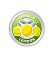 green badge with three lemons placed on white vector image vector image
