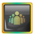 groupchat grey square icon with yellow and green vector image vector image
