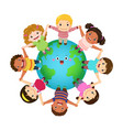 kids holding hands together around world vector image vector image
