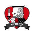 king of heart card poker ribbon symbol vector image
