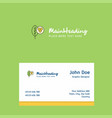 leaf logo design with business card template vector image vector image
