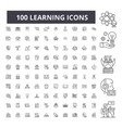 learning editable line icons 100 set vector image vector image