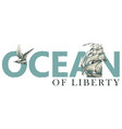 lettering ocean with sailing ship and seagull vector image vector image