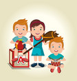 little kids playing with toys characters vector image vector image