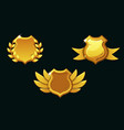 medieval shields in gold color empty vector image