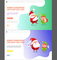 merry christmas and happy new year elf and santa vector image vector image