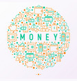 money concept in circle with thin line icons vector image vector image