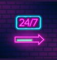 neon roadside signboard with 24 hours inscription vector image