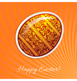 Orange background with a paper easter egg and rays vector image vector image