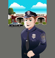policeman in front of police station vector image