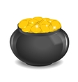 Pot full of golden coins vector image