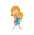 redhead little girl playing with her doll cute vector image vector image