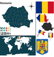 Romania map world vector image vector image