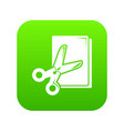 scissors paper icon green vector image