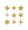 set of realistic gold 3d stars for web vector image vector image
