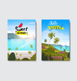 set summer sunrise landscape tropical beach badge vector image