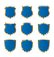 shield gold blue icons set shape emblem vector image vector image