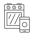 smart cooker stove icon outline style vector image