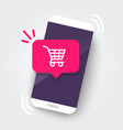 smartphone with shopping cart notification vector image