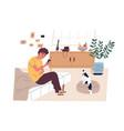 teen boy surfing internet listening to music