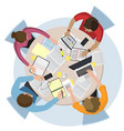 top view office workspace vector image