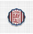 veterans day sale realistic emblem vector image